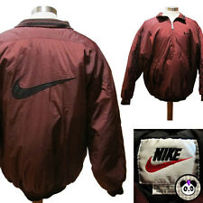 Vtg 90s Nike Big Swoosh Coat Quilted Lining Sz M Parka Red Tag Logo Pullover