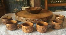 Wooden Spinning Cake Tray W/ Carved Design, Bowl,& 6 Coffee/tea Cups