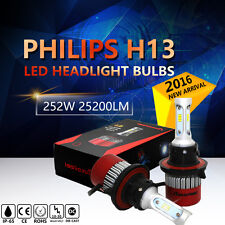 H13 252W 25200LM PHILIPS LED Headlight Kit Hi/Low Beam Bulb White 6000K Power