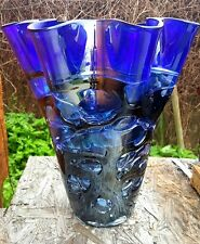 "Handmade 14"" Blue Art Glass Vase Wedding Centerpiece Home Decor Flower Vase"