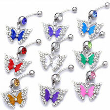 10pcs Lots Dangle Belly Button Rings Crystal Rhinestone Navel Bar Body Piercing