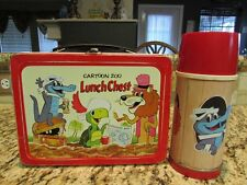 VINTAGE NICE OLD RARE 1963 CARTOON ZOO LUNCH CHEST METAL LUNCHBOX & THERMOS