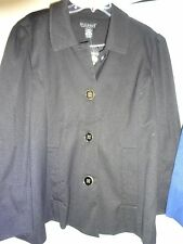 DIALOGUE Womens Poly Lined Coat Jacket Black Size XL Button Front NEW
