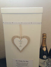 "Wedding Card Post Box - Mr & Mrs Wooden Heart - ""To Love & To Cherish"""