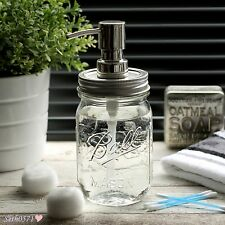 Ball Mason Jar Vintage Style Soap Dispenser with Silver & Chrome Top - UK SELLER