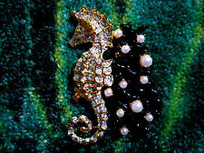 Kenneth Jay Lane Crystal Gold Pearl Dots Black Coral Branch Seahorse Brooch Pin