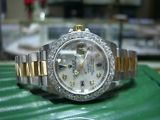 ROLEX DIAMOND BEZEL- DIAL MOTHER OF PEARL SAPPHIRE SUBMARINER TWO TONE -P SERIES