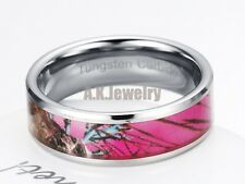 Men 8MM Tungsten Carbide Maple Camo Pink Forset Image Wedding Band Ring SIZE 11