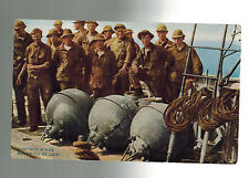 Mint Color Postcard US Navy Sailors Divers with contact Mines on Ship