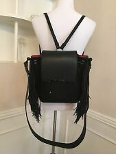 Christian Louboutin Lucky L Fringed Pebbled Leather Hobo Bag Black