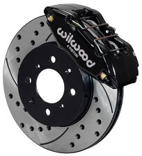 WILWOOD DISC BRAKE KIT,FRONT STOCK REPLACEMENT,HONDA,DRILLED ROTORS,BLACK CAL.