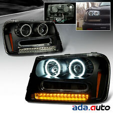 2002-2009 Chevrolet Trailblazer [Dual CCFL Halo] Projector Black Headlights Set