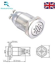 16mm Continuous Sound Buzzer 12V Stainless Steel Quality Connections Free Post