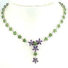 Sterling Silver 925 Genuine Chrome Diopside & Amethyst Flower Necklace 18 Inch