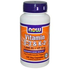 Now Foods Vitamin D-3 & K-2, 1,000 IU / 45 mcg, 120 Veggie Caps