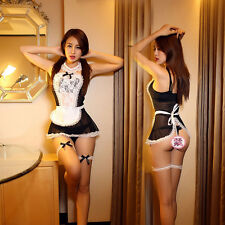 Women Sexy Cosplay Babydoll Sleepwear Nightwear Lingerie Maid Dress G-string