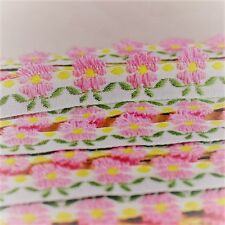 Zakka handmade pink flower embroidery lace trim - price for 1 yard