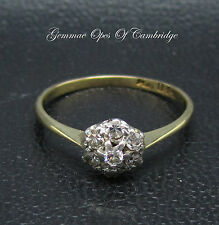 Vintage Dainty 18ct Gold 0.3ct Diamond Cluster Ring with Platinum Setting Size M