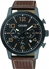 Men's Citizen Chronograph Leather Strap Watch AN8055-06E