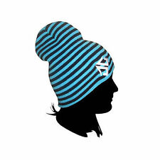 Landing Street/Snowboard Beanie Hat - Double Stripe Black/Blue **SALE**