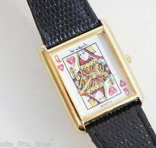 Le Watch by Quinel Queen of Hearts Card Dealer Watch Black Leather White Analog