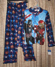 Captain America long sleeved pajamas, boys size large (10-12)