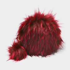 DESIGNER INSPIRED ROUNDED RED FAUX FUR ZIP CROSSBODY BAG POM POM CHARM