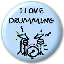 Small 25mm Lapel Pin Button Badge Novelty I Love Drumming