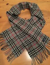 Authentic Vintage Burberry Scarf Grey Check Nova 100% Lambswool Great Condition