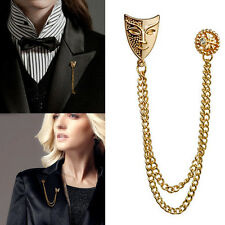 Vintage Mask Chic Collar Shirt Neck Tips Lapel Tie Pin tassel Chain Brooch New