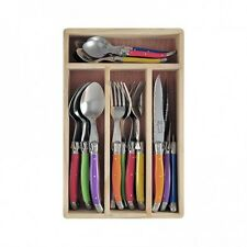 6 piece Cutlery Spoon Soup Spoons Set Wooden Gift Box Laguiole Inspired