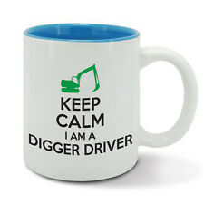KEEP Calm I am I'm a DIGGER DRIVER digging, excavator, mug cup, birthday gift