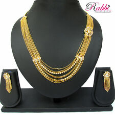 RABBI FASHION DESIGNER GOLD PLATED ZOYA NECKLACE SET WITH EARRINGS