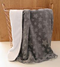 Star Grey Minky Baby Blanket Stroller Pram Crib Shower Gift
