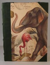 Hand Made, Dark Green Leather Spined, Kindle Case. Wild Animals design cover.