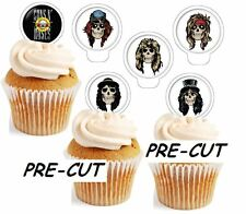 Guns And Roses X24 Comestibles Stand Up Cup Cake Toppers Oblea Papel * Precortada