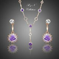 18K Rose Gold Plated Purple Cubic Zirconia Drop Earrings & Pendant Necklace S620