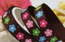 3m Grosgrain Ribbon Small Flower Print Brown 9mm 7-11mm Party Gift Arts Crafts