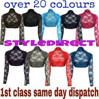 20+ COLOURS LADIES LACE LONG SLEEVE BOLERO SHRUG WOMWN CARDIGAN TOP SIZE UK 8-12