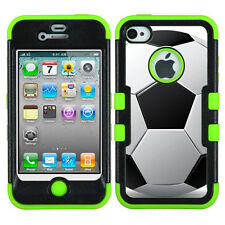 Hybrid 3-Layer phone Case (Green/Black) for Apple iPhone 4 4S - Soccer
