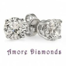 1 ct G SI1 natural ideal cut diamond solitaire stud earrings platinum push backs