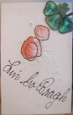 Vintage Irish Postcard ERIN GO BRAGH Roses Glitter Attached Shamrock St Patricks
