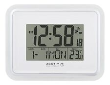 Acctim Delta Radio Controlled Wall Clock MSF Signal Digital Calendar Temperature