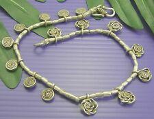 THAI  KAREN HILL TRIBE 98% Silver TWIRL CHARM Lovely ANKLET Bracelet A009