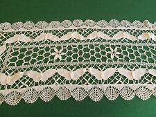"""NEW * 100% COTTON HAND MADE CLUNY BOBBIN LACE RUNNERS * BEIGE * 16 X 45"""" OBLONG"""