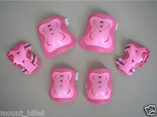 Kid's Roller Blading Wrist Elbow Knee Pads Blades Guard 6 PCS Set in Solid Pink