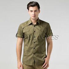 Military Style Mens Awesome Formal Casual Slim-Fit Dress Shirt Short Sleeve Tops
