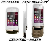New Condition Nokia Brand C2-02 Slide Gold White Unlocked Touch & Type Phone