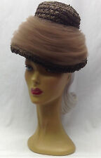 50/60s 2 Labels'' Rich Brown Cellophane Straw Hat Adorned with Swirling Net