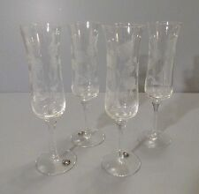 Set of 4 Glass Champagne Flutes with Etched Flowers and Leaves - 6 oz.